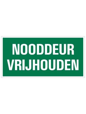 Veiligheidspictogram - Vluchtweg Nooddeur vrijlaten - bord