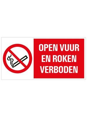Veiligheidspictogram - Open vuur en roken verboden - combibord