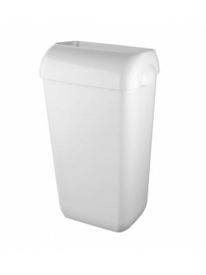 Kunststof afvalbak 23 liter wit met open inworp
