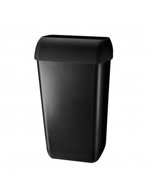 Kunststof afvalbak 23 liter zwart met open inworp